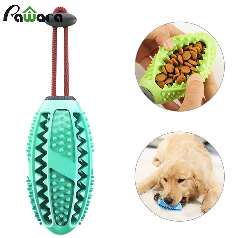 Dog Interactive Natural Rubber Ball Puppy Chew Toy Food Dispenser Ball Bite-Resistant Clean Teeth Pet Playing Balls Pet Dog Toys image