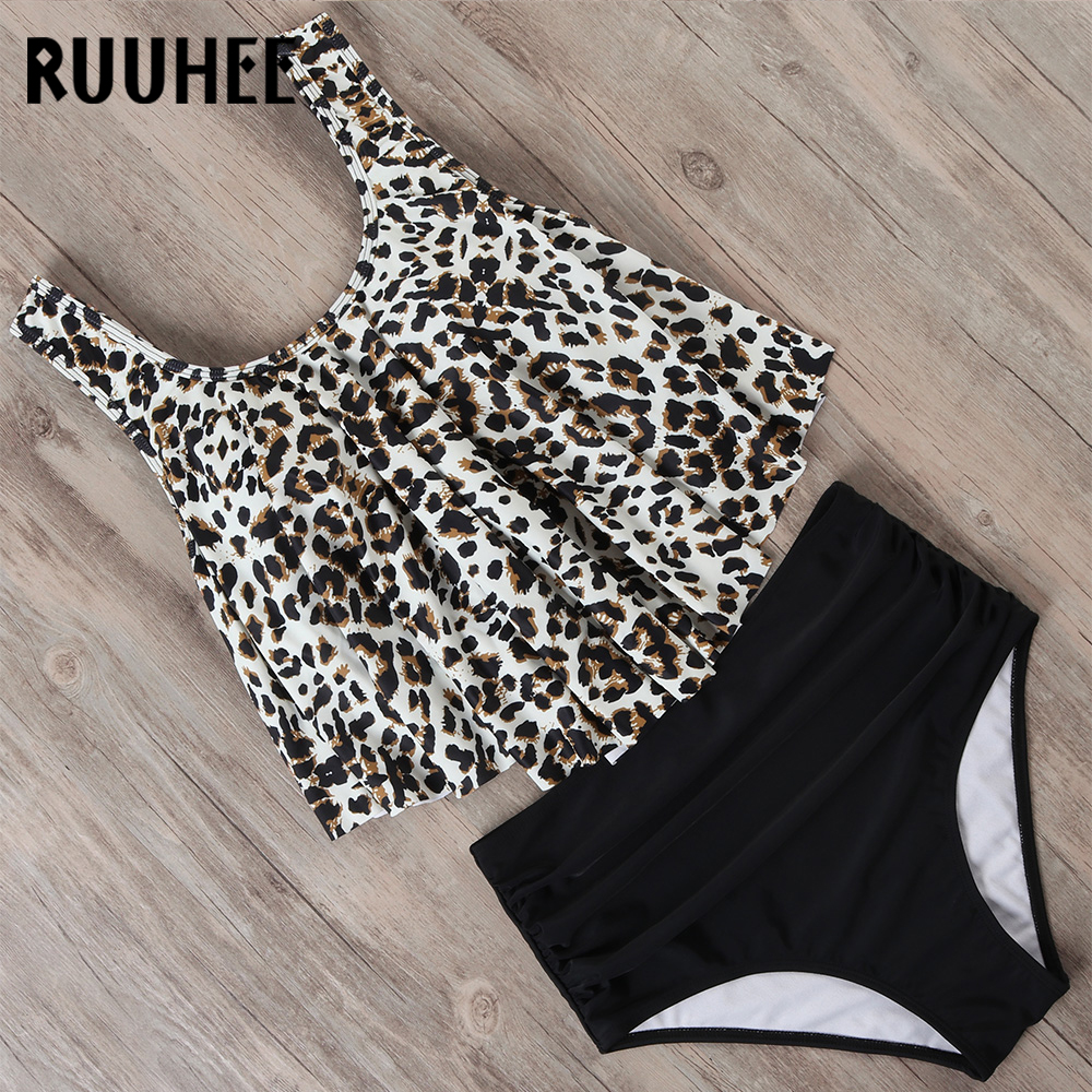 RUUHEE Plus Size Bikini 2020 Swimsuit Swimwear Women High Waist Tankini Bikini Set Push Up Bathing Suit Women Beachwear Swimwear