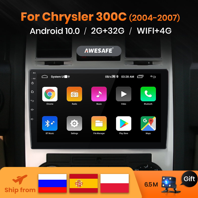 AWESAFE PX9 2 Din Android 10 para Chrysler Aspen 300C 2004-2007 auto Radio Multimedia reproductor de Video RECEPTOR ESTÉREO 2din Autoradio