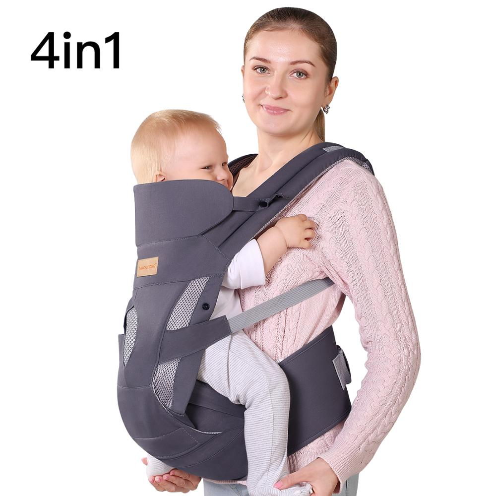 TIANCAIYIDING Ergonomic Baby Carrier Wrap With Hip Seat Soft Breathable Cotton Hood Air Mesh Front And Backpack