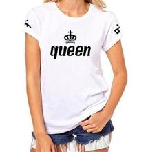 Summer Casual Solid Short Sleeve Cotton T-shirt Crown Printed Funny Tops Matching Family Clothes King Queen Couples T Shirt 2019