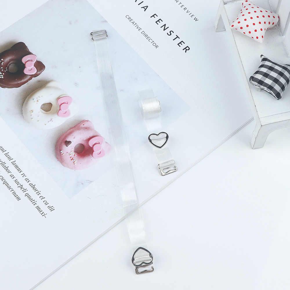 1 par Alta Elastic Moda Botão Ajustável Underwear Bra Cinta Invisível Tarja Transparente Crystal Clear Alças de Ombro Quente