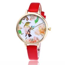Lively Bird And Flowers Pattern Dial Narrow Strap Luxury Leather Cheap Sport Women