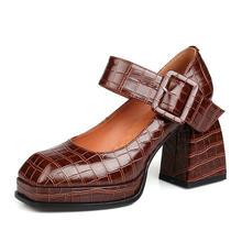 Escarpins en cuir véritable à talons hauts pour femme, chaussures Sexy à plateforme, mode printemps 2021, chaussures de soirée et boîte de nuit
