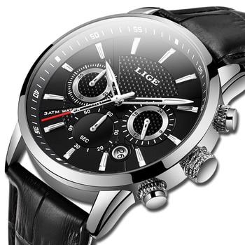 שעון אלגנטי עם רצועת עור לגברים