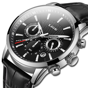 Image 2 - 2020新作メンズウォッチligeトップブランドの高級レザーカジュアルクォーツ腕時計メンズスポーツ防水時計黒腕時計レロジオmasculino