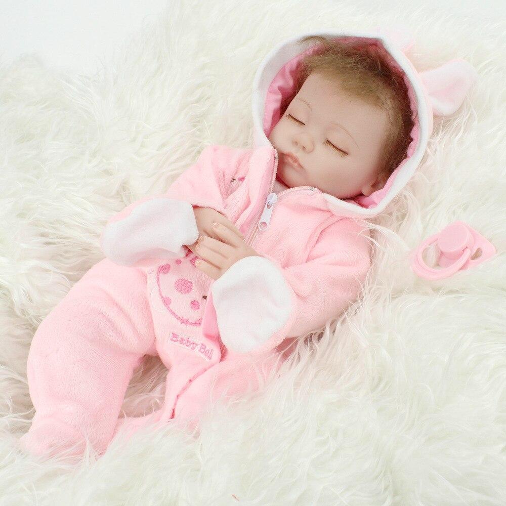 45CM Baby Reborn Dolls Realistic Sleeping Baby Toys Cloth Body Lifelike Silicone...