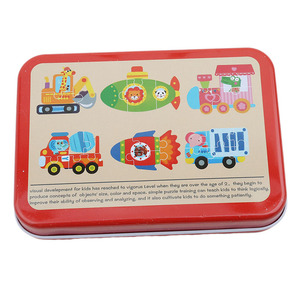 Детские игрушки 6 в 1 железная коробка Мультяшные животные деревянная головоломка для детей Монтессори Ранние развивающие игрушки подарки ...