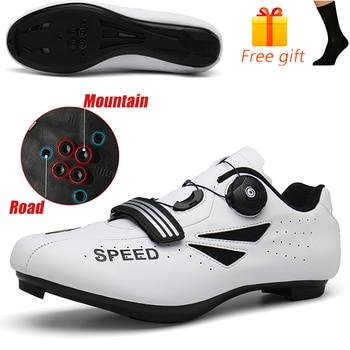 Carbon Fiber Men Cycling Shoe Breathable Triathlon Mountain Bike Shoes Man Sport Road Racing Snaeker Spin Buckle 23