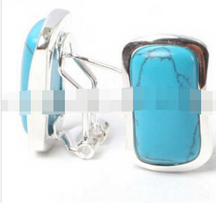 720>> 14x22mm מלבן חרוזים נמוך כסף stud עגילי אופנה תכשיטים