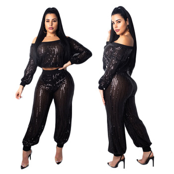 Stripe Sequins Sheer Two Piece Set Rompers Women Sexy Slash Neck Off Shoulder Lantern Sleeve Crop Top Bloomers Pants Club Outfit lace applique lantern sleeve cold shoulder top