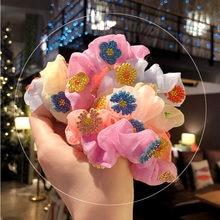 Эластичные резинки для волос с цветными блестящими ромашками
