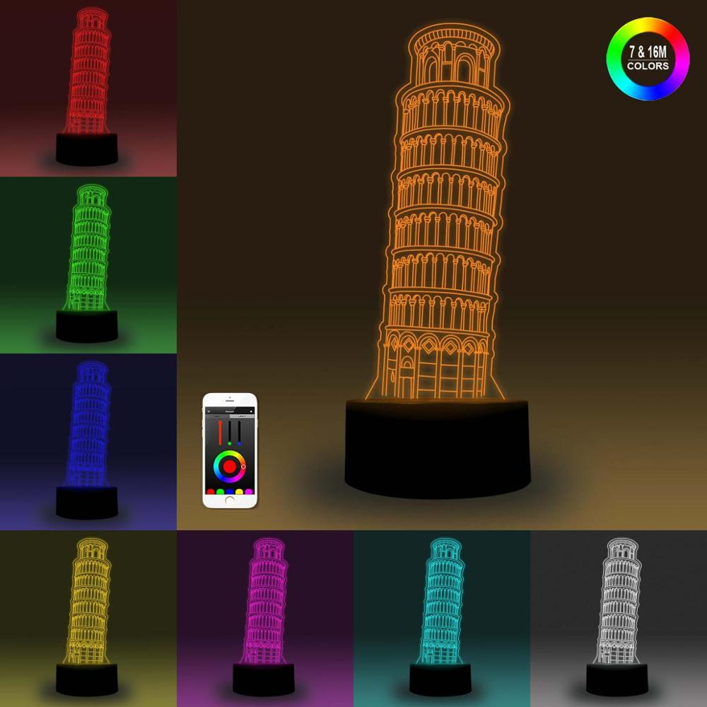 NiteApps 3D The Leaning Tower Of Pisa Night Light Desk Table Illusion Decoration Lamp Holiday Birthday Gift APP/Touch Control