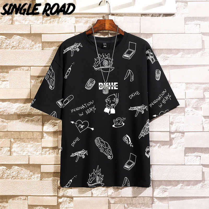 SingleRoad Man's Black T-shirt Men Oversized Full Print Cotton Punk Hip Hop Japanese Streetwear Harajuku Tshirt Male T Shirt Men