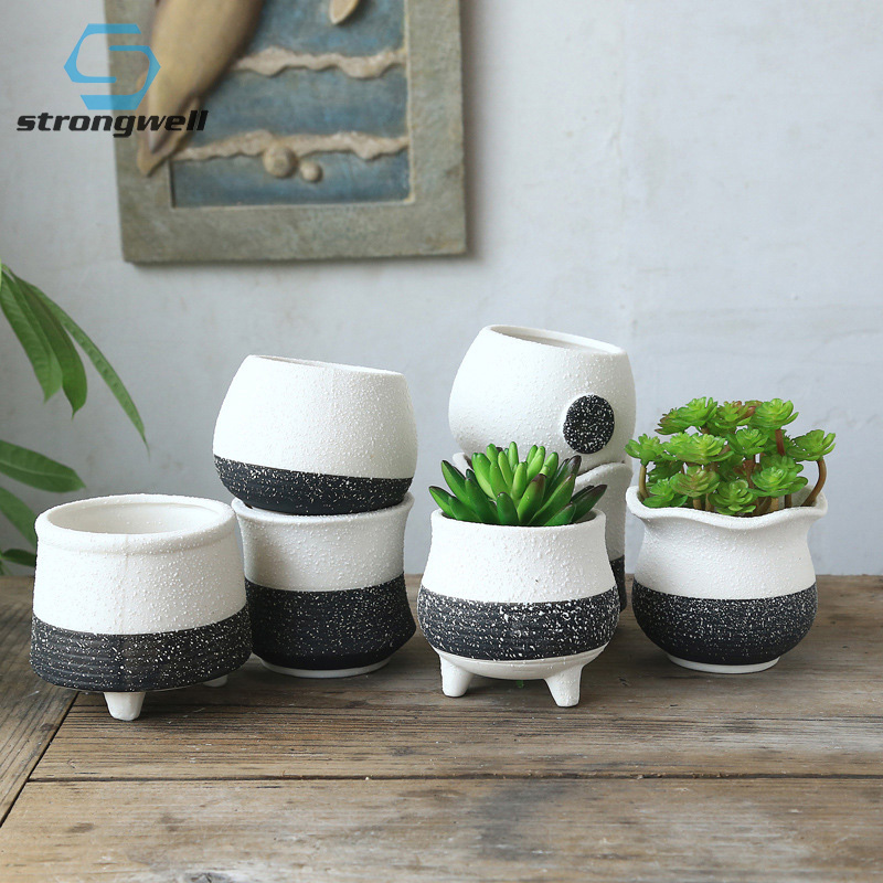 Strongwell Ceramic Flower Pots Home Decoration Snowflake Glaze Succulent Plant Container Green Planters Small Bonsai Pots