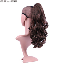 Delice 20 Womens Curly Long Ponytail Elastic Drawstring Chignon Horse Tail High Temperature Fiber Synthetic Hair Ponytails