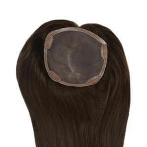 Image 3 - Pieno di Lucentezza Dei Capelli Topper Base di Seta 13*13cm Pezzo di Capelli Invisibile Con Pinze 100% Fatta a Macchina di Remy Corona estensioni dei capelli di base Mono