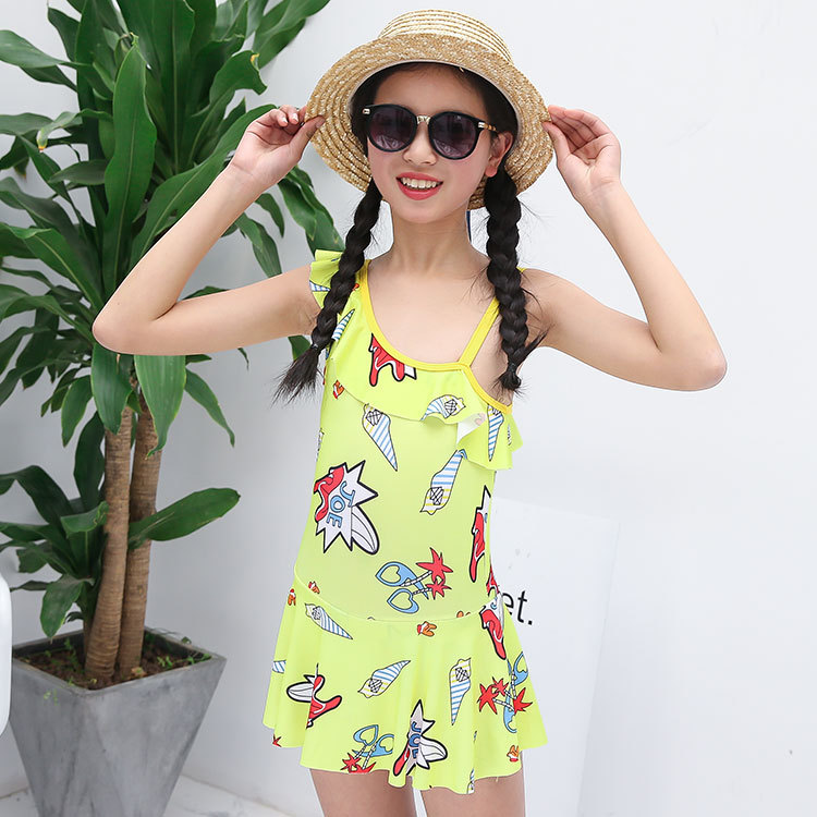 Children Children Elegant Girls One-piece Princess Skirt Bathing Suit Cute Cute New Style Sloping Shoulder Students 6-12-Year-Ol