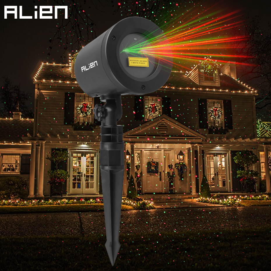 ALIEN Red Green Motion Static Christmas Laser Lights Star Projector Outdoor Garden Holiday Xmas Show Waterproof Light Sensor