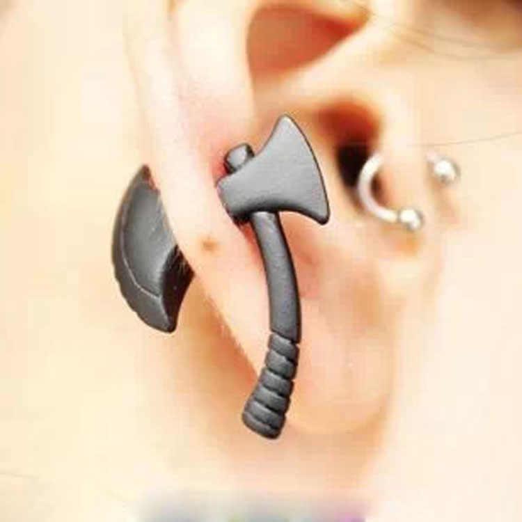 1 adet kişilik Punk nikel ücretsiz siyah Ax Hatchet Mens Womens düğme küpe moda Piercing takı aksesuarları
