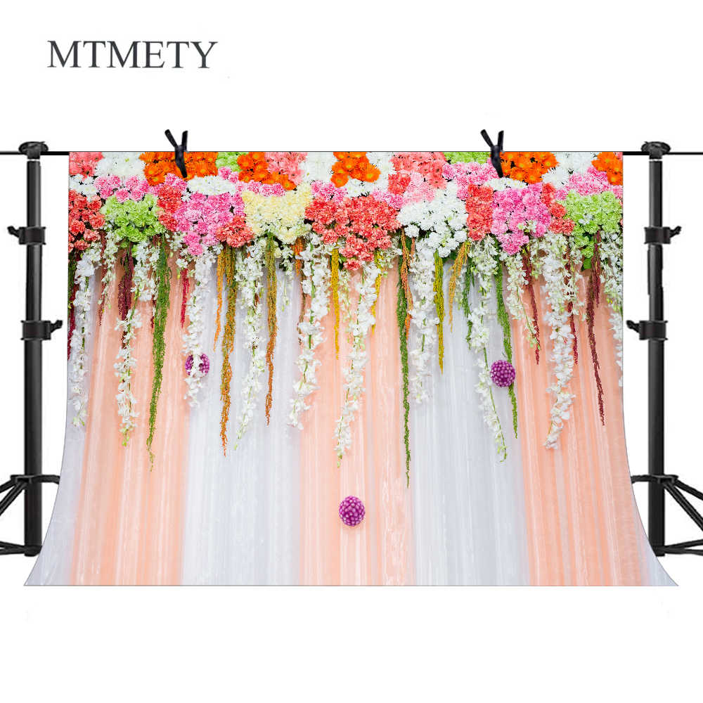 Mtmety Wedding Backdrop Flowers Photography Background Birthday Party Baby Shower Decor Banner Floral Photo Backdrop Props X 37 Aliexpress