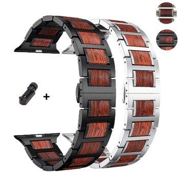 Ремешок для Apple watch 4 5 ремешок 44 мм 40 мм iWatch 3 42 мм 38 мм Высокое качество из натурального красного сандалового дерева  браслет correa из нержавеющ...