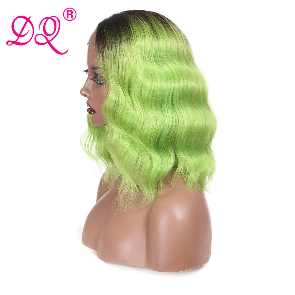 DQ Gelombang Alami Renda Sintetis Depan Wig Sintetis Wig untuk Wanita Pendek Bob Wig Cosplay Wig Ombre Rambut Pirang Hijau Ungu coklat Teguran