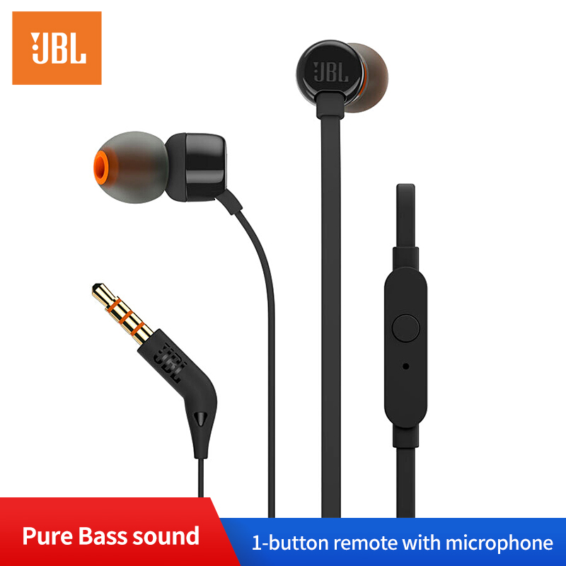 JBL T110 In ear Earphones Dynamic Sport Music Pure HIFI Deep Bass Stero Sound Headset 1 button Remote with Microphone Earphone-in Phone Earphones & Headphones from Consumer Electronics
