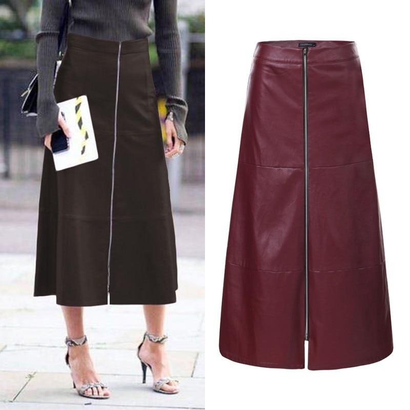ZANZEA Women's Midi Skirts PU Leather Autumn Sundress Elegant High Waist Skirts Female Front Zip Long Vestidos Robe Plus Size