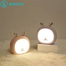 Deer Rabbit Rechargeable LED Night Lamp Mini USB Touch Sensor Animals Night Light Holiday for Baby Bedroom Christmas Gift
