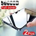 50000D 2PCS Volle Abdeckung Screen Protector Für iphone 12 11 Pro X XR XS MAX Gehärtetem Glas Auf iphone 6s 7 8 Plus 12 Mini Glas Film