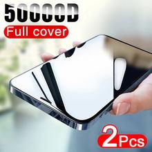 50000D 2PCS pellicola salvaschermo a copertura totale per iphone 12 11 Pro X XR XS MAX vetro temperato su iphone 6s 7 8 Plus 12 Mini pellicola di vetro