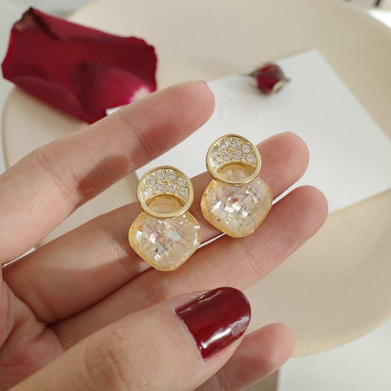 MENGJIQIAO 2020 New Statement Zircon Circle Pendientes Fashion Shell Square Acrylic Dangle Earrings Elegant Jewelry