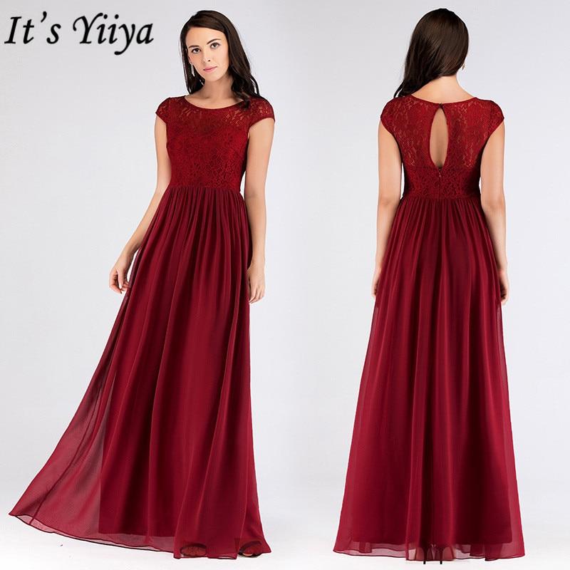 It's Yiiya Bridesmaid Dresses Chiffon Plus Size Floor-Length Robe De Soiree C451 A-Line O-Neck Sleeveless Bridesmaid Dress 2020
