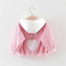 Весенне-осенняя куртка принцессы для маленьких девочек от 2 до 5 лет Вельветовая куртка с капюшоном в форме сердца кардиган, одежда для детей