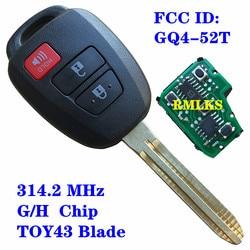 Klucz zdalny z chipem H 72G dla Toyota RAV4 Highlander 2013 2014 2015 FCC ID: GQ4-52T TOY43 Blade