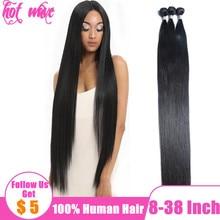 Горячий волна 30 32 34 36 38 дюйм бразильский человеческий волосы плетение пучки наращивание для женщин натуральный черный шелковистый прямой уток длинный нет