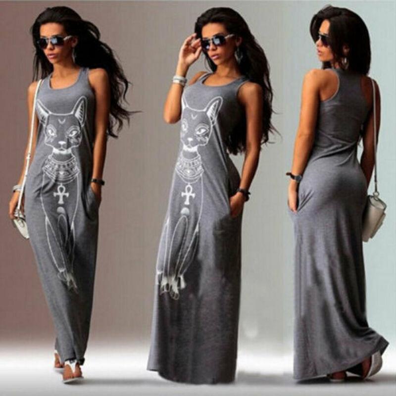 New Fashion Womens Maxi Casual Beach Sundress Cocktail Sleeveless Kaftan Hippie Pocket Dress