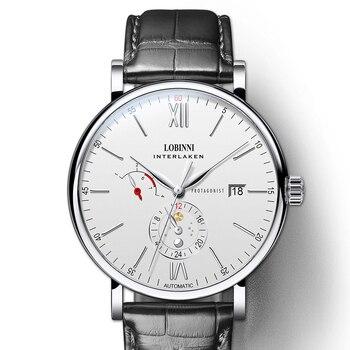 سويسرا LOBINNI Luxuy العلامة التجارية ساعة الرجال التلقائي الميكانيكية رجالي ساعات جلدية على مدار الساعة الياقوت مقاوم للماء relogio masculin