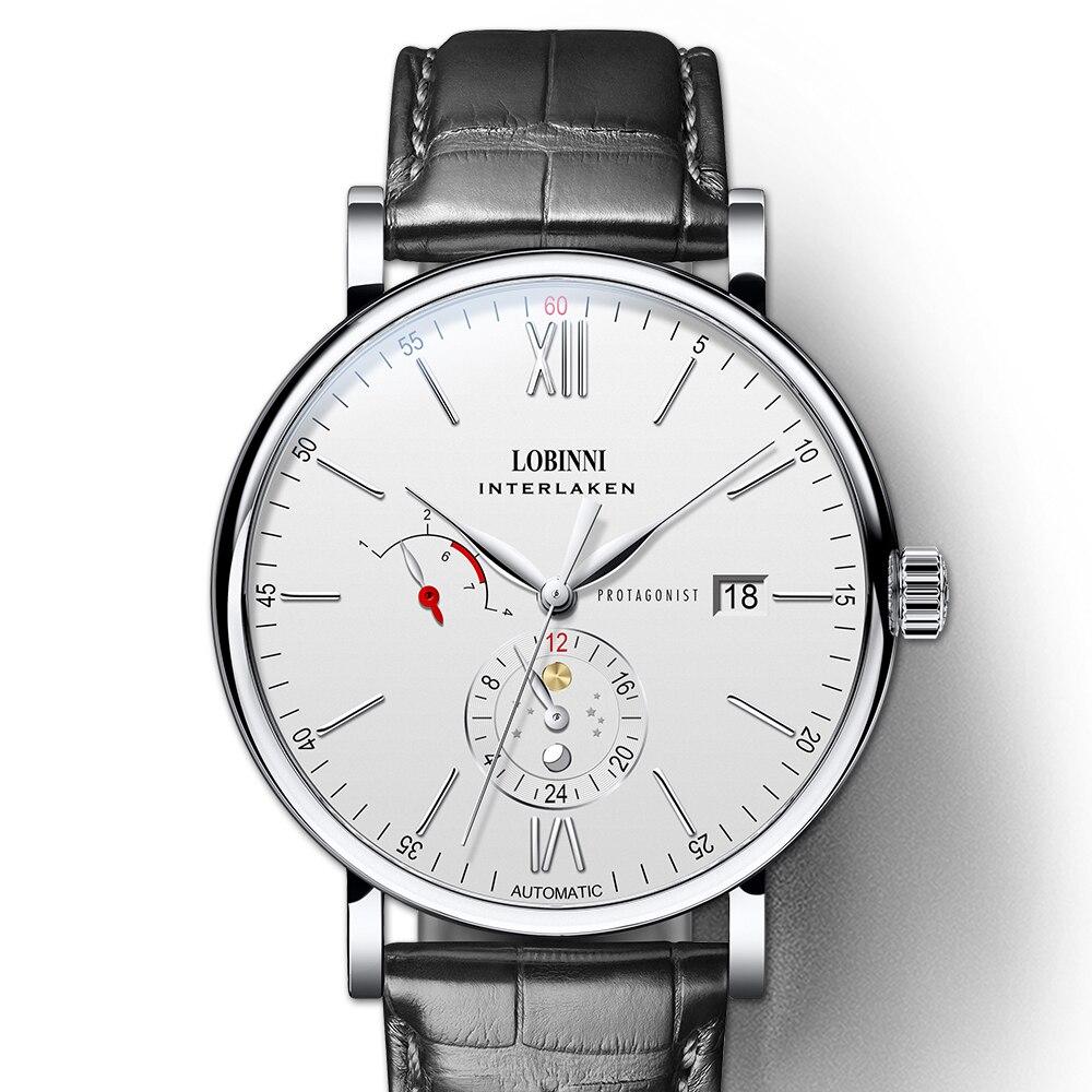 سويسرا LOBINNI Luxuy العلامة التجارية ساعة الرجال التلقائي الميكانيكية رجالي ساعات جلدية على مدار الساعة الياقوت مقاوم للماء relogio masculin-في الساعات الميكانيكية من الساعات على