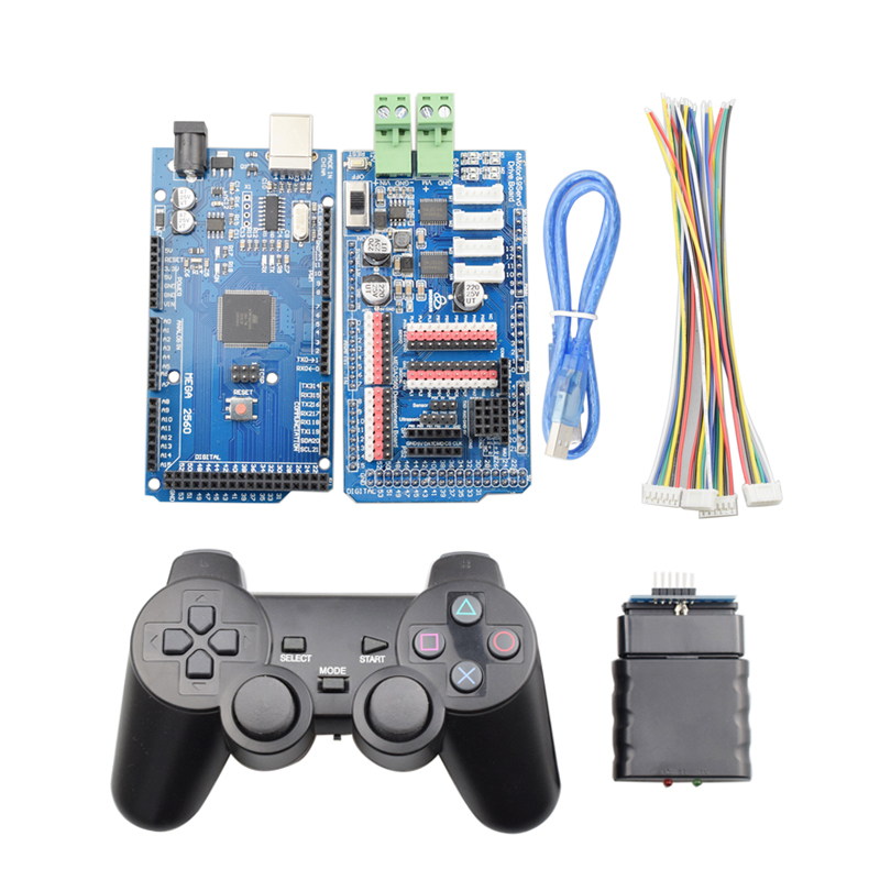 PS2 Handle Controller+ Mega2560 Board+ 4 Channel Motor 9 Channel Servo Driver Board For Arduino DIY Mecanum Wheel Robot Car