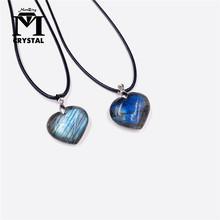 Naturalny labradoryt kryształowy kamień kamień wisiorek kamień księżycowy miłość wisiorek wróżbiarstwo duchowy medytacja biżuteria naszyjnik tanie tanio CN (pochodzenie) FENG SHUI CHINA