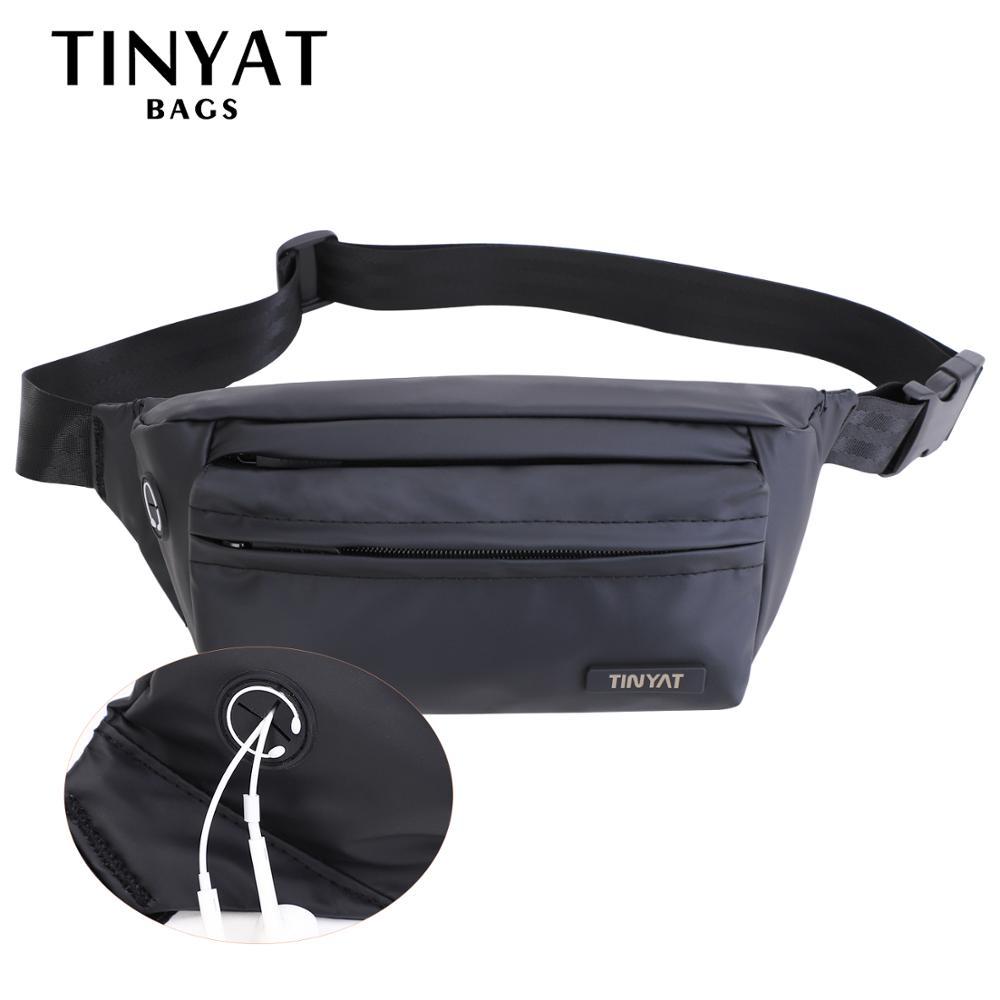 TINYAT Men Waist Packs Waterproof PU Belt Pack Bag Outdoor Sports Fanny Bag Pack Casual Travel Male Bum Beltbag Men Hip Bag