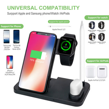 2019 New 4 In 1 Fast Wireless Charger for Apple Watch iWatch 1 2 3 4 Airpods QI Wireless Charger Dock for iPhone XR XS MAX