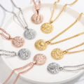 MYDIY New Trendy Retro Zodiac Sign Necklaces Gold Chain Stainles Steel 12 Constellation Round Shape Pendant Necklace For Women