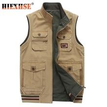 Plus Big Size 9XL Double-Sided Wear Brand Clothing Autumn Mens Vests Sleeveless Jacket Cotton Casual Multi Pocket Vest Male Wai