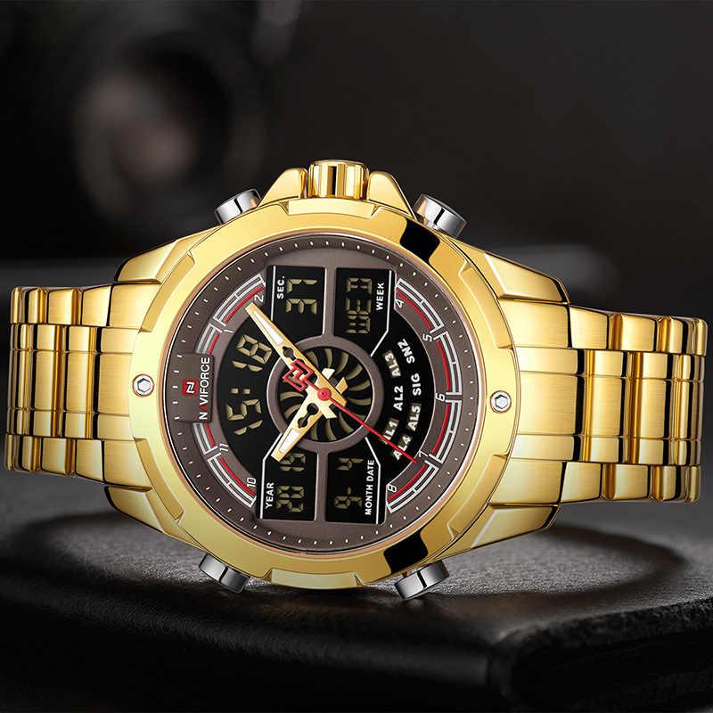 NAVIFORCE мужские часы лучший бренд класса люкс модные кварцевые часы для мужчин водонепроницаемые ЖК-цифровые мужские часы полностью стальные Relogio Masculino