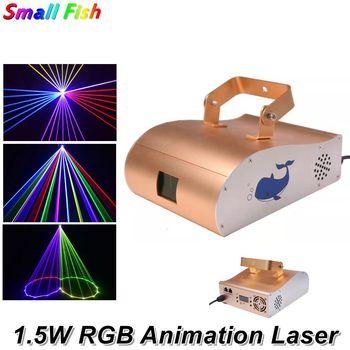 1.5W RGB Laser animacyjny światła wiązki laserowej skanuje DMX DJ taniec Bar strona główna Disco etap efekt oświetlenia sprzęt Dj dane pokazują