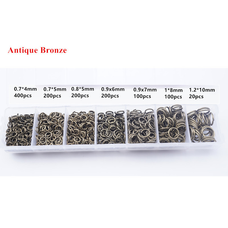 1200 Pcs Alloy Open Jump Rings Mixed 3mm 4mm 5mm 6mm 7mm 8mm 10mm Split Rings