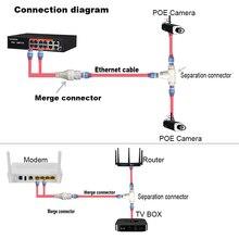 Conector de cableado simplificado de cámara POE, divisor, conector de cableado de red 2 en 1, instalación de cámara de seguridad de cabezal RJ45 de tres vías